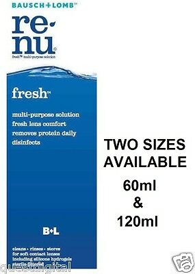 Bausch + Lomb Renu Fresh Multi-Purpose Contact Lens Solution Sizes 60ml & 120ml