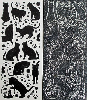 SPARKLE Cats Pets PEEL OFF STICKERS Animals Foot Prints Fish Bowl Cardmaking