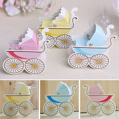 10pcs Wedding Candy Box Stroller Shape Party Supply Baby Shower Favor Paper Gift