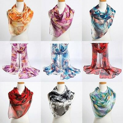 New Women's Fashion Georgette Long Wrap Leave Printed Shawl Beach Silk Scarf