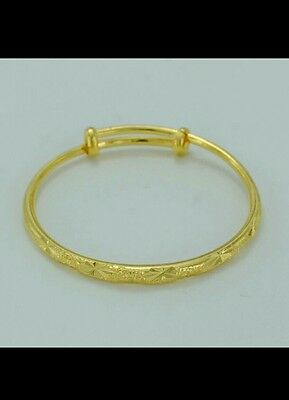 1pc 24k gold fillled BABY BANGLE BRACELET toddler birthday BOY GIRL 0-6YEAR GIFT