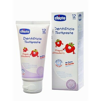 50ml Chicco Baby Toothpaste 12M+ Strawberry Flavour Children Tooth Paste