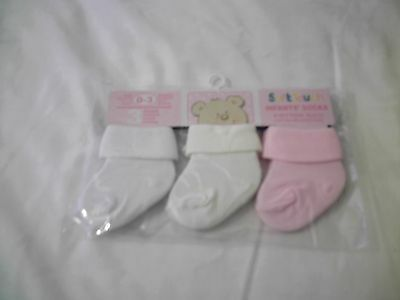 Pack of 3 Girls Cotton Socks 3-6 Months New
