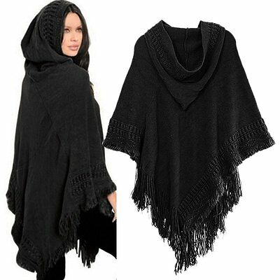 Women Knitted Hoodie Batwing Poncho Cape Sweater Ladies Outwear Wrap Coat Tops
