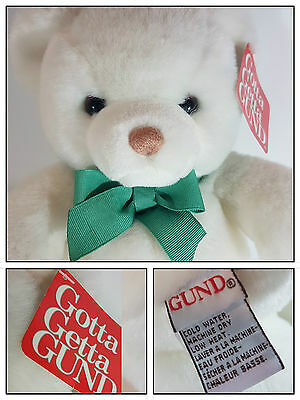 """Retired Gund White Tender Teddy Bear 13"""" 2127  With Tag Very Good Collectors"""