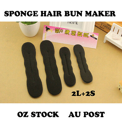 4x Foam Sponge Magic Hair DIY Styling Donut Bun Curler Maker Former Twist Tool