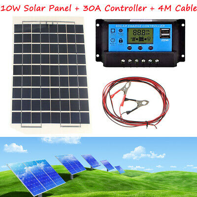 30A LCD 12v 24v Auto Charger Controller + 4m Cable Clip + 10W Energy Solar Panel