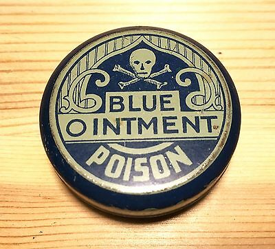 Vintage Blue Ointment Poison Tin skull and crossbones