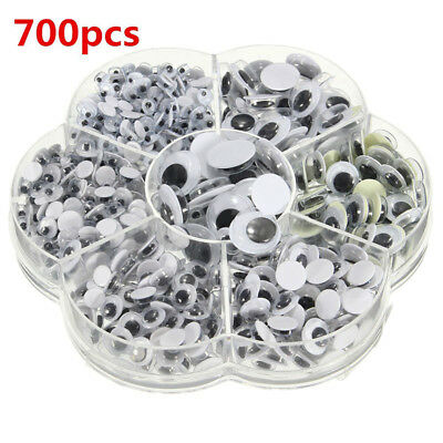 700Pcs 4-12mm Mixed Wiggly Wobbly Googly Eyes Self-adhesive Scrapbooking Crafts