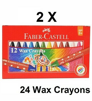 24 Faber Castell Wax Crayons Assorted Colours Mini 57mm Kids Child Safe Washable