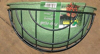 """12"""" Garden Hanging Wall Flower Basket complete with Natural Green Pulp Liner"""