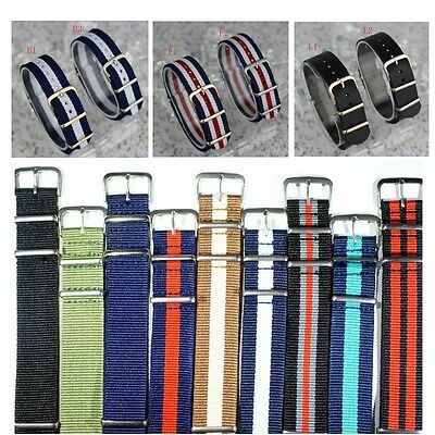 Nato Men Watch Strap Band Army Divers Nylon Leather Watchband Buckle Spring Bars