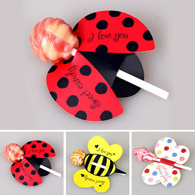 50PCS Lollipop Decoration Card Birthday Party Wedding Decor Candy Insect Stick