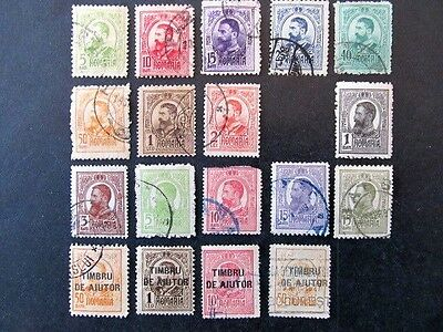 ROMANIA, SC# 207-222, KING CAROL I SETS with REVENUE OVERPRINTS (1908-1913)
