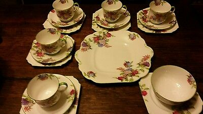 aynsley pottery 18 pieces cup saucer plate floral hydrangea rare stunning 778491
