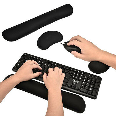 Black Comfort Keyboard Wrist Rest Support Mat Mouse Mice Pad Computer PC Laptop