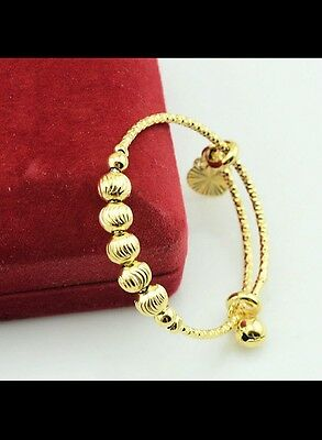 UK 18k gold filled BABY BANGLE anklet adjustabl 0-6 YEAR christmas toddler GIFT