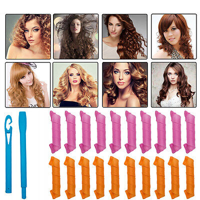 24PCS DIY Magic Hair Curlers Styling Curlformers Spiral Ringlet Hairband Tools G
