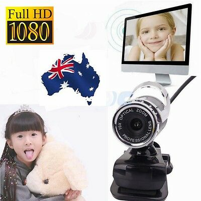 1080P 360°Full HD 12MP Webcam Network Camera with Built-in Mic for PC Desktop AU