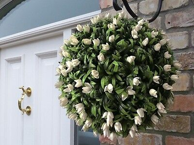 Best Artificial Ivory White Tulip Flower Ball Hanging Topiary Garden Basket New
