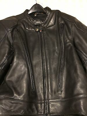 FIRSTGEAR Black Leather Motorcycle Pilot Jacket Size 48