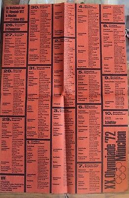1972 Munich, Germany Cloth Olympics Schedule Diary