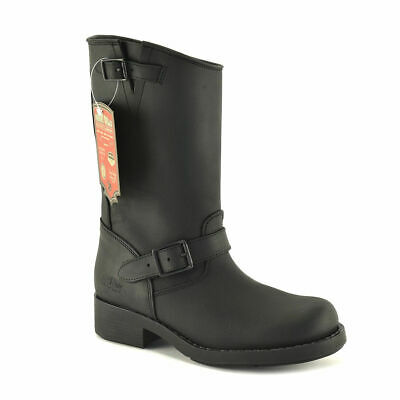 Men's Engineer Biker Motorcycle Leather Boots Black UK 5 6 7 8 9 10 11 12 Spain