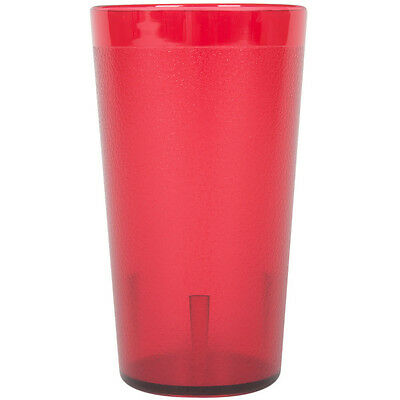 (12-Pack) 12 oz. Red Round Pebbled Plastic Restaurant Drinking Glass Tumblers
