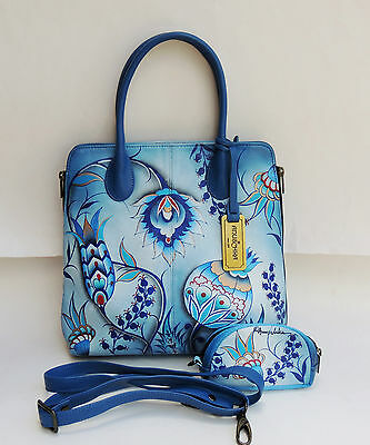 Anuschka Blue Floral Hand Painted Leather Handbag Bag And Purse