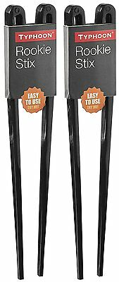 2 Pair Typhoon Rookie Chopsticks 20cm Easy Use Training Sushi Chinese Food Black