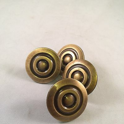 Lot Of 4 Vintage Metal Brass Bullseye Style Drawer Pulls Knobs