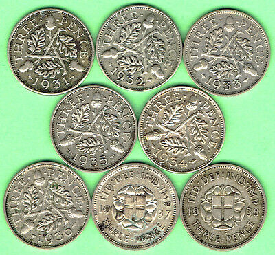 Great Britain (T) 8 x SILVER 3d Three Pence British 1931-1938 Complete Date Run