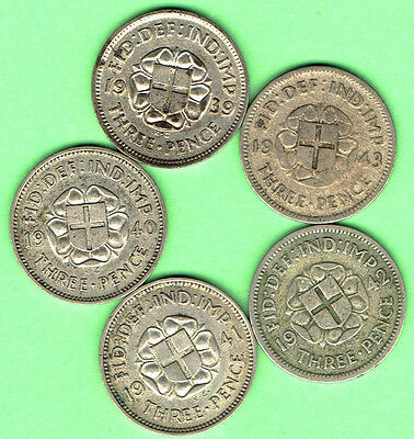 Great Britain (6A) Date Run SILVER 3d 1939 to 1943 ALL Key Dates Three Pence WW2