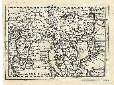 Original antique map of Southeast asia from 1667 by Jollain