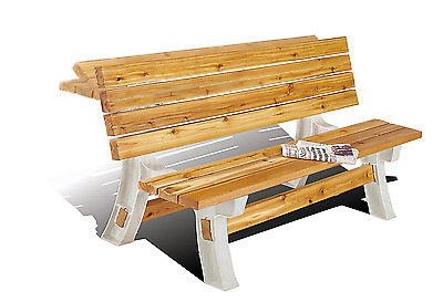 Bench Chair Table Flip Set Convert Picnic Party Natural Wood Outdoor 2x4 Basic