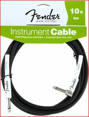 "Fender Performance Guitar / Instrument Cable Lead 10Ft / 3M   Angled 1/4"" Jack"