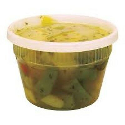 Pack of 48 Plastic Deli Food Container 16 oz DeliTainer with Lids