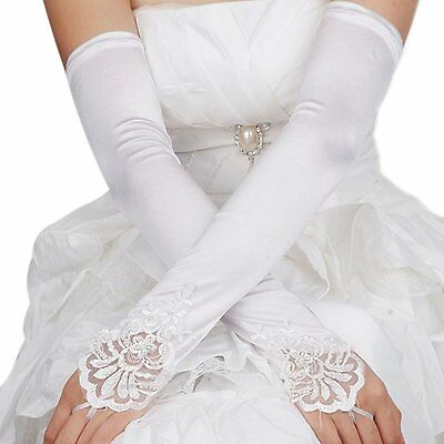 Bridal Gloves Fingerless Lace Glove for Wedding Long Accessories White