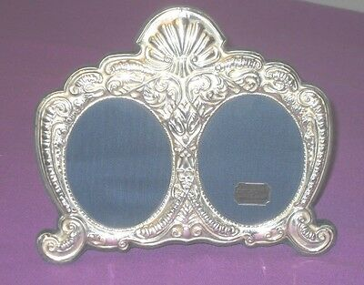 Vintage Stylish 1994 Sterling Silver Double Oval Photo Picture Frame Antique