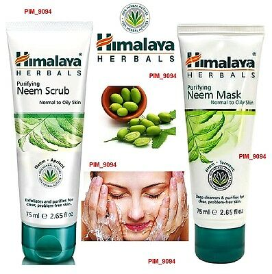 HIMALAYA HERBALS Face Neem MASK or SCRUB Natural Care 75ml Normal to Oily Skin