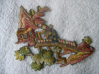 Two Applique Motifs - Vintage - Silk Hand Embroidered Eastern Scenes