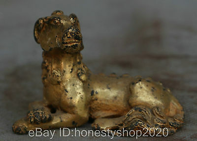 Chinese Folk Bronze Gilt Fengshui Zodiac Year Sheep Goat Animal Lucky Statue TY