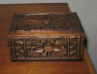 Vintage Hand-Carved Wooden Folk Art Box Spain Mexico
