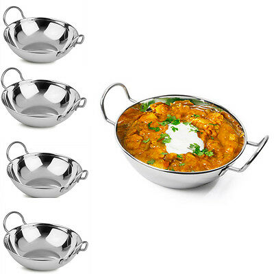 4,8,12 Balti Dish Stainless-Steel 16cm Indian Food Curry Serving Handled Dishes