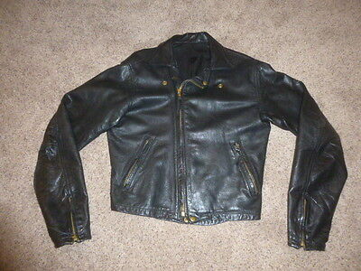 Vintage Langlitz Leather Cascade Motorcycle jacket Men's Collar Ribbed back 1987
