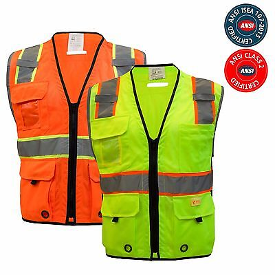 Class 2 HIGH VISIBILITY Two Tone Safety Vest, Harness D-Ring Pass Through Pocket