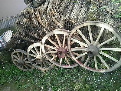 Set of 4 vintage old wooden cart wagon wheels wheel  57,60,74,78cm FREE DELIVERY
