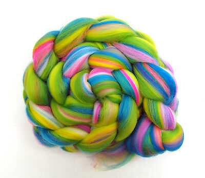Merino Wool Blend Naughty Neon Combed Top 100g for Spinning Felting Roving Fibre