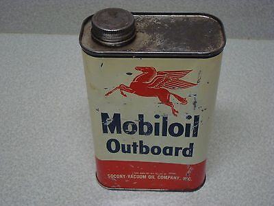 Vintage 1 Quart Mobil Mobiloil Socony Vacuum Outboard 2 Cycle Motor Oil Can
