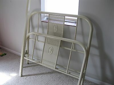 Antique Metal Bed- Double/Full Size Bed--Bedframe On Wheels